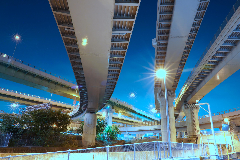 清州ジャンクション(清州JCT)の夜景(愛知県清須市)その3