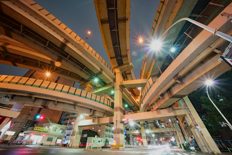 箱崎ジャンクション(箱崎JCT)の夜景(東京都中央区)